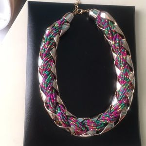 Thick Braided Bead/Metal Necklace